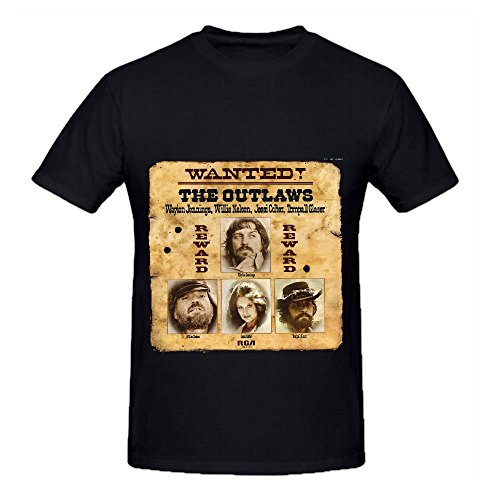 willie-nelson-wanted-the-outlaws-mens-crew-neck-tee-shirts-customized-black