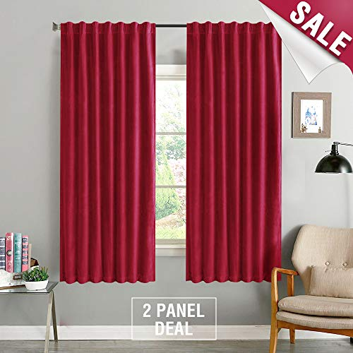 - Red Velvet Curtains 63 inches Long Rod Pocket Living Room Darkening Window Curtain Set Bedroom Curtain Panels Back Tab Burgundy 2 Panels Drapes