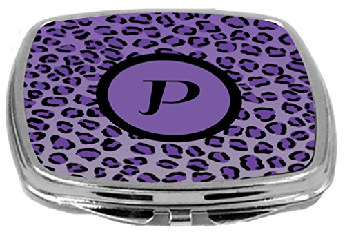- Rikki Knight Compact Mirror, Letter p Initial Purple Leopard Print
