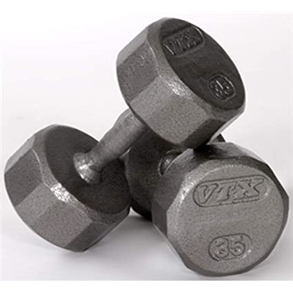 amazon com troy barbell vtx 12 sided gray hex dumbbell with steel