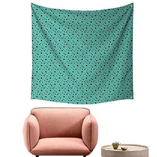 "alsohome Bedroom Tapestry Tapestry Wall Hanging for Bedroomdalmatian Dog Fur Inspired Little Polka Dots Circles Rounds Image Jade Green 39""X39"""