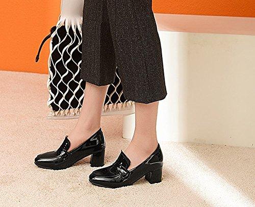 Carolbar Women's Chic Solid Color Square Toe Mid Heel Court Shoes Black VUmQD
