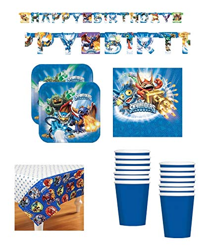 (SKYLANDERS Birthday Party Supply Bundle Set for 16 includes Plates, Cups, Napkins, Table Cover, Happy Birthday)