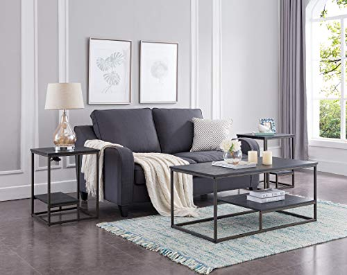 Pewter Living Room Set - Kings Brand Furniture - Santan 3-Piece Occasional Table Set, Coffee Table & 2 End Tables