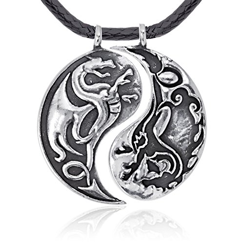 Dan's Jewelers Chinese Dragon Yin Yang Pendant Necklace, Fine Pewter Jewelry