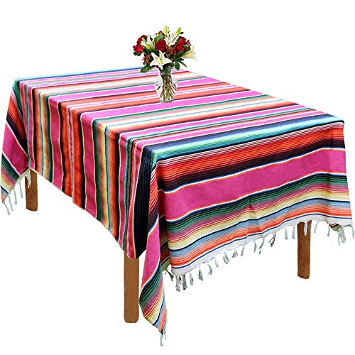 59 x 84 Inch Mexican Serape Blanket Tablecloth for Mexican Party Wedding Decorations Outdoor Picnics Dining Table, Large Square Fringe Cotton Handwoven Table Cloth -