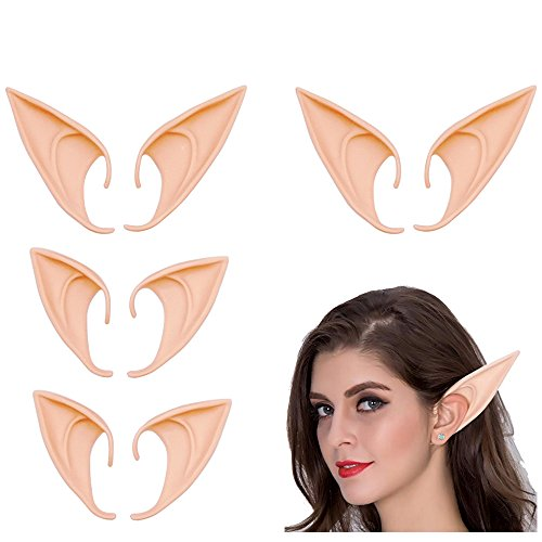 4 Pairs Cosplay Fairy Pixie Elf Ears Elven Ears, Soft Pointed Ears Tips Cosplay Costumes Fairy Goblin Vampire Elven Ears Accessories Anime Cosplay for Halloween Party Props Pointed Prosthetic Tips]()