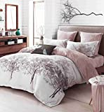CASA 100% Cotton Brushed Cashmere Process series Branch Duvet Cover & Flat sheet & Pillow Case,Duvet Cover Set,Super Soft,4 Piece,King Size