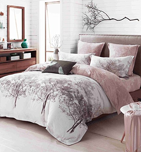 CASA 100% Cotton Brushed Cashmere Process series Branch Duvet Cover & Flat sheet & Pillow Case,Duvet Cover Set,Super Soft,4 Piece,King Size (Percale Pillow Case 220)
