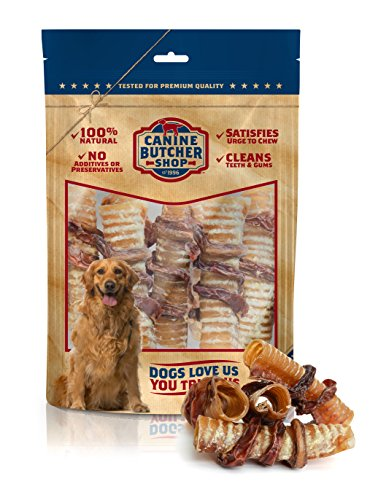 Canine Butcher Shop Wind Twist Dog Chews, Made in USA, Two Ingredients, Odor Free, All-Natural Trachea and Beef Bully Stick (6 inch Trachea Wrapped in a Twisted Bully Stick) (Pack (Twisted Chew Sticks)