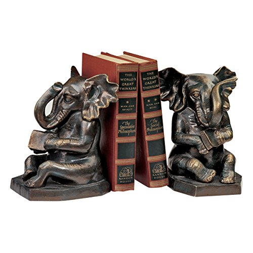 Design Toscano Educated Elephant Cast Iron Bookend, Bronze, Set of 2 by Design Toscano