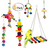 MEWTOGO 6 PCS Bird Swing Toys for Bird Cage - Bird Hammock +Hanging Bells+Rattan Balls+Parrot Chewing Toy+Beak Grinding Stone for Finch,Parakeets,Cockatiels,Conures and Love Birds Larger Image