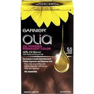 Garnier Olia Oil Powered Permanent Haircolor, 5.5 Medium Mahogany (Packaging May Vary)