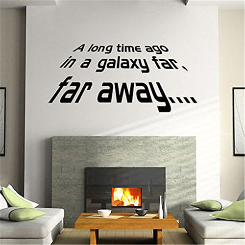Vinyl Peel and Stick Mural Removable Wall Sticker Decals A Long time ago in a Galaxy far far Away for Nursery Kids Room Bedroom Living Room -