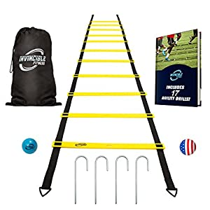Invincible Fitness Agility Ladder Training Equipment, includes Gym Carry Bag, 4 Metal Hooks and 2.5 inch Massage Ball