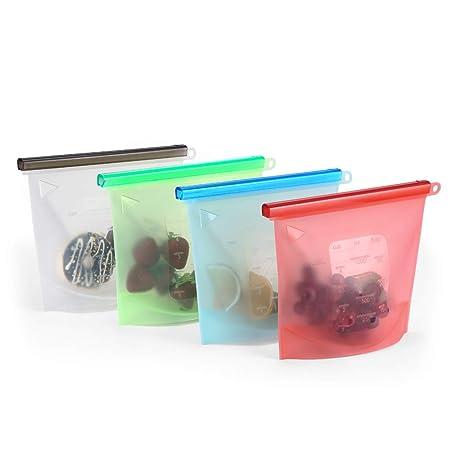 Bolsa Silicona Reutilizable Set 4 colores Preservación de Alimentos Bision Bolsas Silicona de Almacenamiento Conservacion Alimentos Usar Para Congelar ...