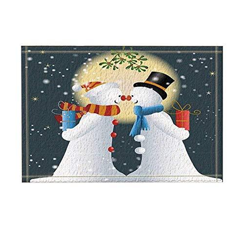 Christmas Decor Snowman with Gift Friendship Mystique Bath Rugs Non-Slip Doormat Floor Entryways Indoor Front Door Mat Kids Bath Mat 15.7X23.6In Bathroom Accessories