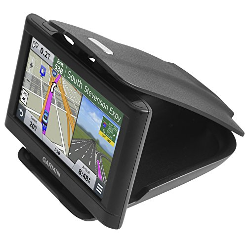 GPS Dash Mount [Matte Black Dock] for Garmin Nuvi Drive Dezl Drivesmart Driveassist DriveLuxe, Tomtom, Magellan Roadmate, Navman - Car Sticky Non-Slip Dashboard 3.5 4.3 5 6 inch Navigation Holder 200w Cup Holder Design