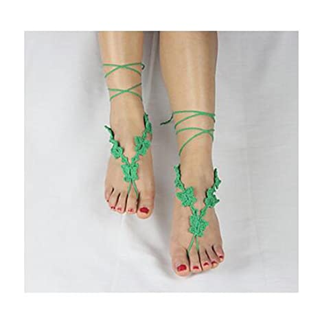 TT\u0026SHOUSHI Farfalle uncinetto braccialetto di cotone catena della caviglia  di nozze della spiaggia delle donne sandali