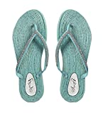 Peach Couture Womens Rope Sole Rhinestone Beaded Casual Sandals Flats Flip Flops Sky Blue 5 B(M) US