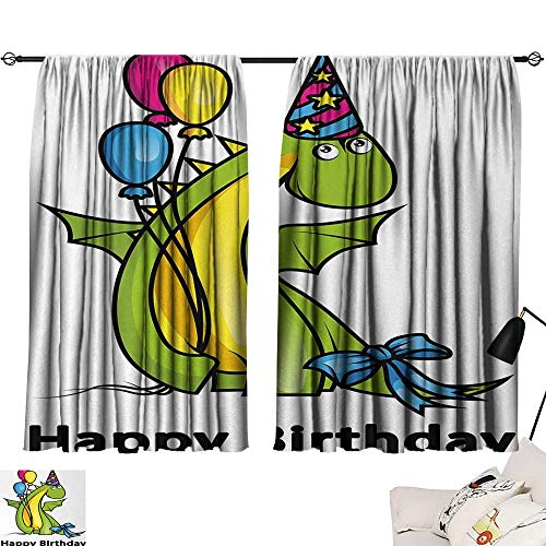 Kids Birthday Curtain for Living Room Little Baby Dinosaur Animal Party Event with Colorful Balloons top Darkening Curtains Fern Green and Yellow W55 x L39 by Jinguizi (Image #6)
