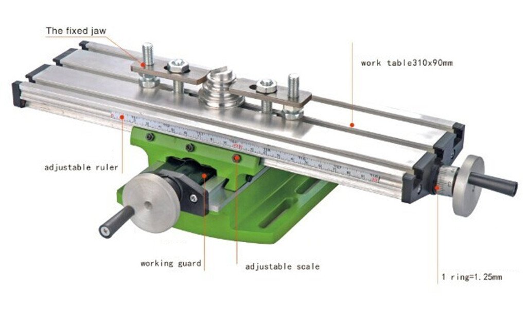 Milling Worktable 310×90MM Milling Working Table Milling Machine Compound Drilling Slide Table For DIY Bench Drill by TOAUTO (Image #2)