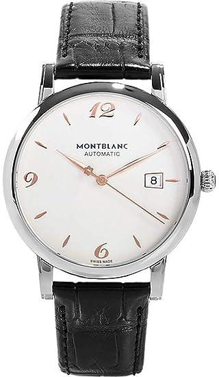 Reloj Montblanc Star Steel Collection 110717 automático acero quandrante blanco correa piel