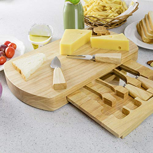 Costzon Bamboo Cheese Board & 4 Piece Knife Set - Stainless Steel Cheese Knife, Fork, Shovel, Scimitar, Travel Cheese Set with Slide Out Oval Cutting Board