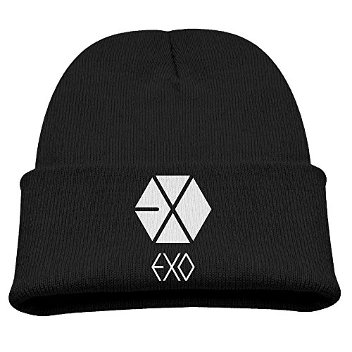 Unisex-Child Beanie Hat Winter Hats Winter Exo Logo Watch Cap Knit Cap Beanies Black