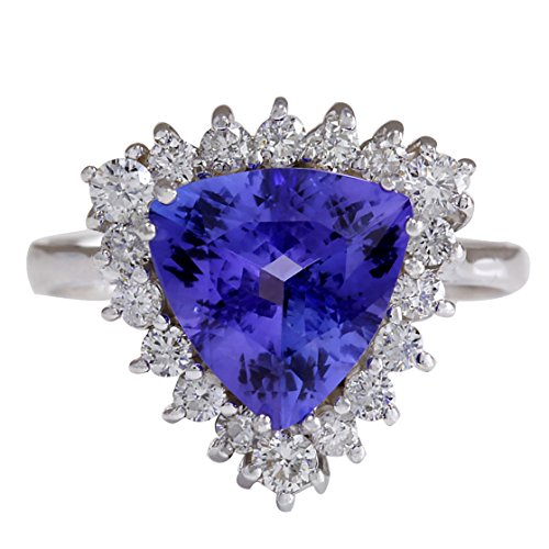 (3.25 Carat Natural Blue Tanzanite and Diamond (F-G Color, VS1-VS2 Clarity) 14K White Gold Engagement Ring for Women Exclusively Handcrafted in USA)