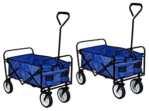 GHP Pack de 2playa azul plegable plegable multiusos Wagon carro de jardín