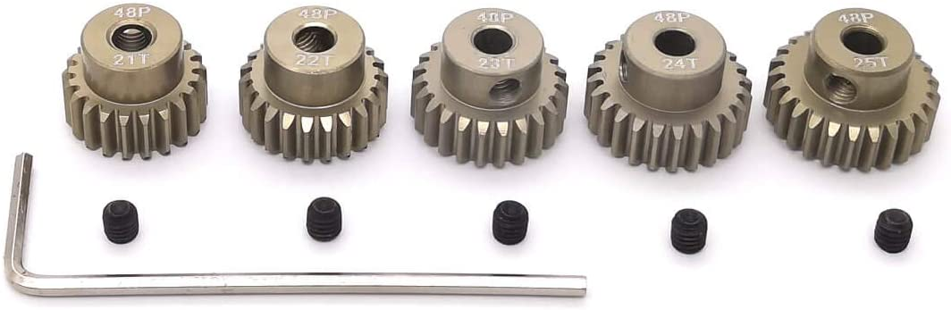 B07RVHN1WQ 48P Pinion Gear Set 21T 22T 23T 24T 25T 3.175mm RC Motor, 5 Pcs 48 Pitch Gears RC Upgrade Part with Screwdriver 51EQQxJvFcL
