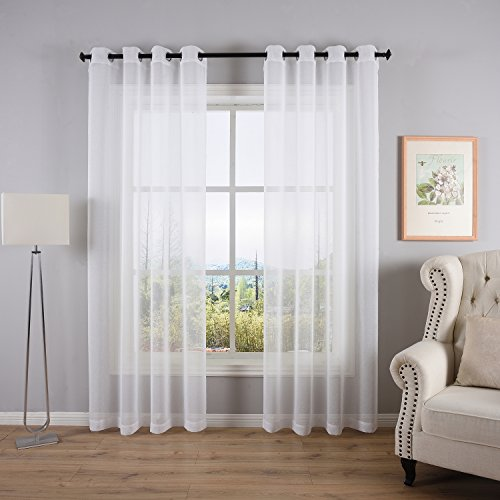 DWCN White Sheer Curtains Linen Look Semi Transparent Voile Grommet Curtains for Living Room Dining Room Drapes Panel 52 x 84 Inch Long ,Set of 2