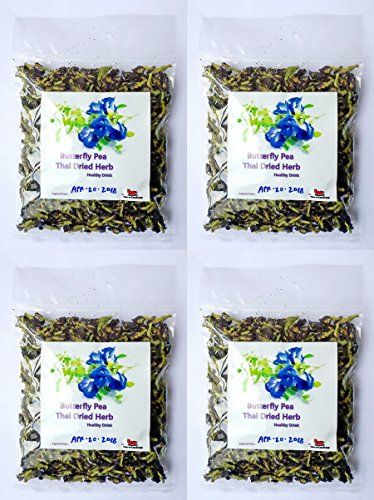 mewinshop Butterfly Pea Flower Healthy Thai Dried Herb Tea Drink Blood Health ORGANIC Natural Blue Eye Food Pure 50g Coloring Cooking Pack of (Spice Berry Garland)