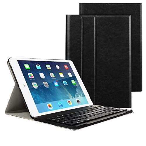 New iPad 9.7 Inch 2018/2017 Keyboard Case, Ultra-Slim Removable Wireless Bluetooth Keyboard PU Folding Leather Folio Keyboard Cover For iPad 9.7 2018/2017/iPad Pro 9.7/iPad Air 2/iPad Air Tablet-Black by Besmall