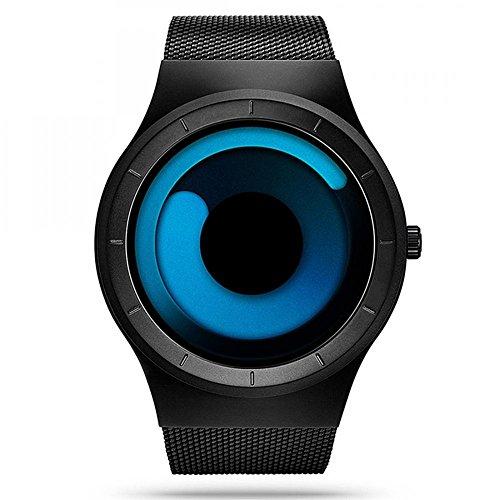 Gets Men Unique Wrist Watch Mesh Strap with Swirl Design Hand Watch Cool Aurora Watches