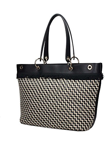 BORSA DONNA LIU-JO SHOPPING TOTE BAG MOD VIRGINIA L COL. NERO/LINO BS18LJ72 Nero