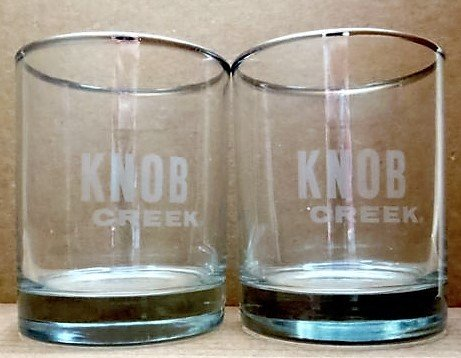 Knob Creek Silver Rimmed Rocks Glasses  | Set of 2 Glasses Jim Beam Knob Creek