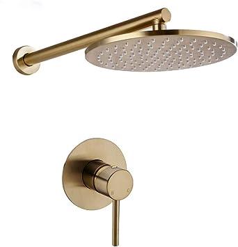 WYH Juego de ducha de baño de latón macizo dorado cepillado grifo ...