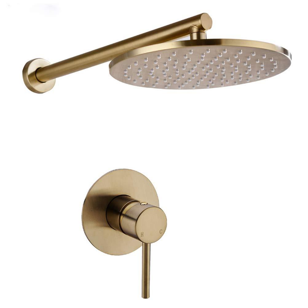 WYH Juego de ducha de ba/ño de lat/ón macizo dorado cepillado grifo de ducha de lluvia grifo montado en la pared conjunto de grifos de brazo de ducha