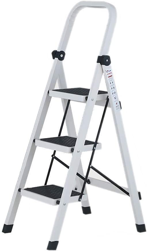 LXX Foldable Step Stool,Metal Folding Step-Ladder Stool, Household Kitchen Stool, Easy Storage, 3 Tier Step Stool with Anti-Slip Feet,Ideal for Home/Kitchen/Garage
