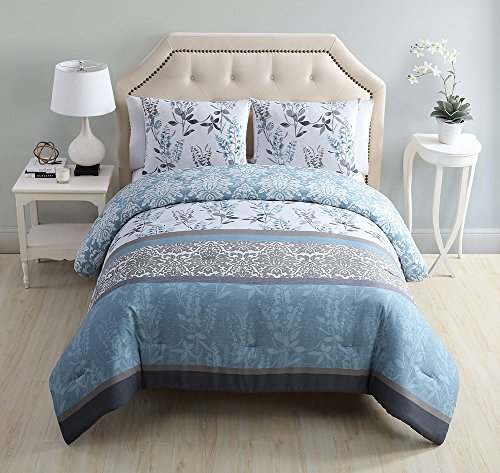 Ashley 3 Piece Comforter Set, Floral Damask Design, Luxuriously Soft 100% Polyester Material,104x90 Inches, Bring Your Garden Indoors - Victoria Stores Garden