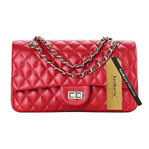 Red Handbag Lambskin (SanMario Designer Handbags Lambskin Classic Quilted Grained Double Flap Gold Tone Metal Chain Women's Crossbody Shoulder Bag Red 30cm/12