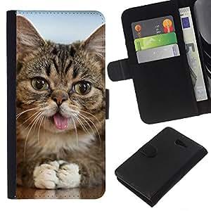 American Shorthair Mongrel Tongue Cat - la tarjeta de Crédito Slots PU Funda de cuero Monedero caso cubierta de piel Sony Xperia M2