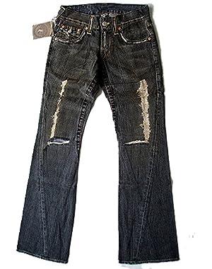 New True Religion Men's Flare Denim Jeans - Joey Destroyed - Black Vintage