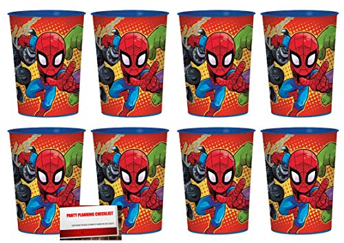Super Hero Adventures Marvel 16 oz Plastic Favor Cups 8 Pack (Plus Party Planning Checklist by Mikes Super Store)
