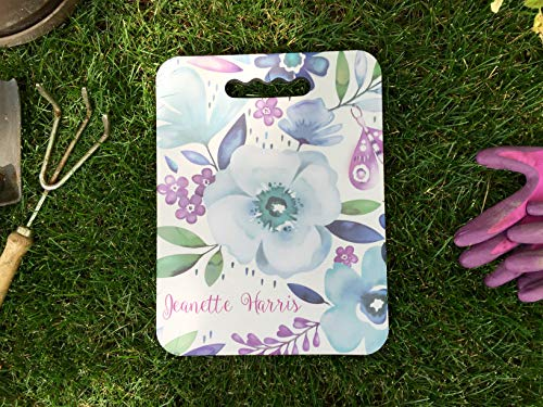 Qualtry Personalized Outdoor Garden Kneeler Gardening Gifts, Can Also Be Bath Kneeler, Bench Cushion Foam and Yoga Knee Pads 10'' x 13'' x 0.5'' (Blue Flowers Design) by Qualtry