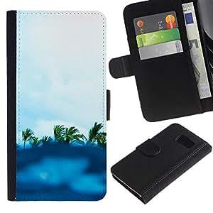 iKiki Tech / Cartera Funda Carcasa - Blue Surf Palm Trees Summer Waves Island - Samsung Galaxy S6 SM-G920