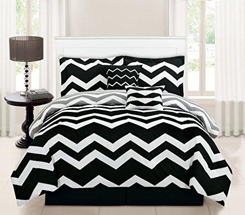 6 Piece Full Chevron Black Comforter Set