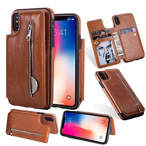 (iPhone X Wallet Case, SUPZY Flip Folio Zipper Case with No Front Cover For iPhone X Slim Protective PU Leather Case 3 Slot Card Holder, Thin yet Tough (Brown))